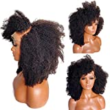 Short Afro Kinky Curly Human Hair Wigs Mongolian Afro Kinky Curly Lace Front Wigs Human Hair 150% Density Side Part Kinky Curly Wig with Bangs (14 inch)