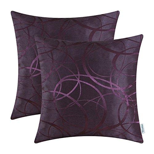 CaliTime Kissenbezüge Kissenhülle Packung mit 2 Kissenbezüge Dekokissen Cases Schalen für Couch Sofa Home Decor Modern Glänzend & Matt Kontrast Kreise Ringe Geometrisch 40cm x 40cm Deep Purple