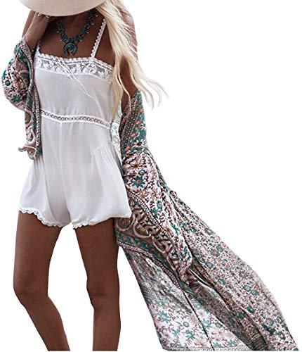 Uniquestyle Damen Sommer Kimono Cardigan Strand Chiffon Bluse Tops Boho Bikini Cover Up (Floral1, Floral1)