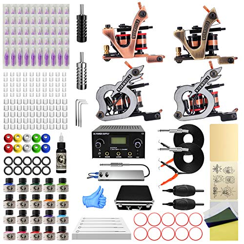 Wormhole Tattoo Maschine Set Komplett 4 Tattoomaschine Dual Power Supply 50 Tattoo Nadeln 20 Farbtinten Anfänger Tattoo Kit EU-Stecker (TK1000046)
