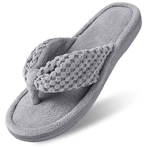 ULTRAIDEAS Women's Memory Foam Flip Flop Slippers with Cozy Terry Lining, Moisture-Wicking Open Toe Slip On , Ladies' House Shoes with Indoor Outdoor Anti-Skid Hard Rubber Sole (Gray,7-8)