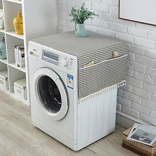 LIOOBO Abdeckung Kühlschrank Waschmaschine Glencheck Mustern Wasserdicht Staubschutz Deckel Trockner Abdeckung mit Aufbewahrungstasche 140x60cm