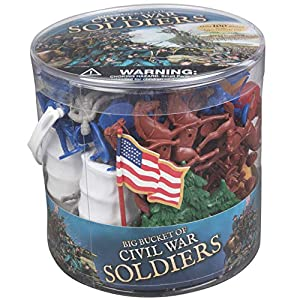 Civil War Army Men Action Figures - Big Bucket of Civil War Soldiers - Over 100 Piece Set