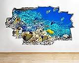 Pegatinas de pared para acuario, pecera, agua, sala de estar, calcomanía, póster, arte 3D Viny Poster Mural Artístico - 70x100CM
