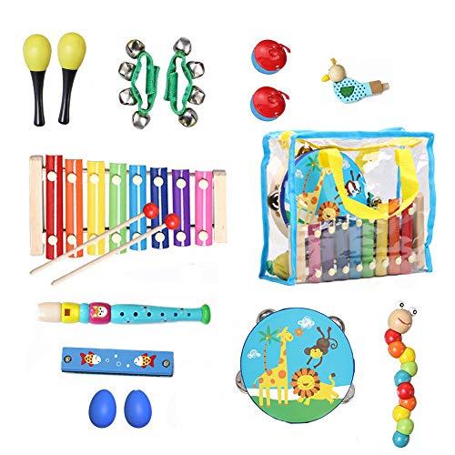 YZCX Strumenti Musicali per Bambini 16 Pezzi con Sacca Portaoggetti Giocattolo in Legno Xilofoni Tamburi e Percussioni Regalo di Compleanno Natale (Style 1)