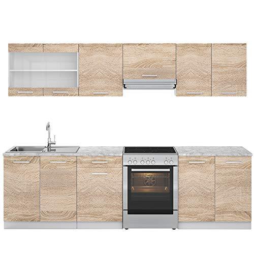 Vicco Küche Raul Küchenzeile Küchenblock Einbauküche 270 cm Sonoma - Frei Kombinierbare Einheiten