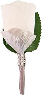 Angel Isabella White Rose Boutonniere with Silver Ribbon