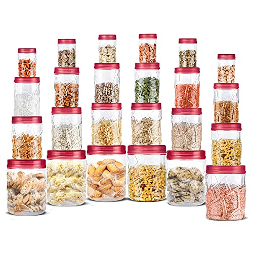 Milton Vitro Plastic Pet Storage Jar and Container, Set of 24 (6 pcs x 300 ml Each, 6 pcs x 700 ml Each, 6 pcs x 1.4 Ltrs Each, 6 pcs x 2 Ltrs Each), Red Wine | Air Tight |Kitchen Organiser | BPA Free
