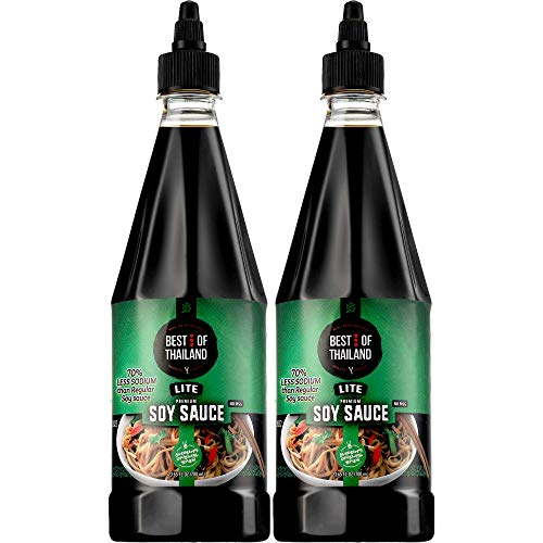Premium Dark Soy Sauce Lite and Low Sodium | 2 Bottles of Dark Soy Sauce 23.65oz Real Authentic Asian-Brewed Marinade for Marinating Fish, Meat & Roasted Vegetables | Squeezable Bottle No MSG | Kosher