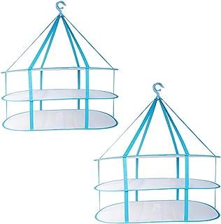 JETEDC(ジェットイデイシイ)3段 折りたたみ ワイド 平干しネット グレー 物干しネット 洗濯ネット 洗濯干しネット 折りたたみ式 ネット (青(2枚入))