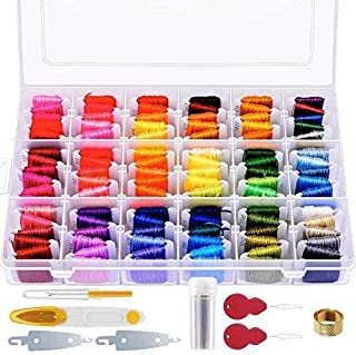Paxcoo 146 Pcs Embroidery Floss with Organization Box Including 108 Colors Cross Stitch Thread Friendship Bracelet String ...