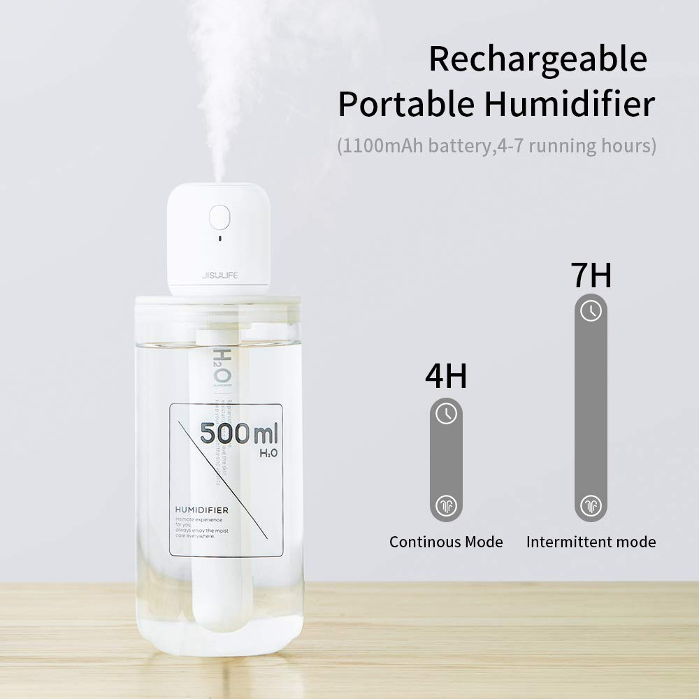 OURRY Mini Travel Silent Humidifier, Battery Operated Desk Humidifier, Personal USB Powered Bedroom Humidifier with Container Diversity, 4 7Hrs,