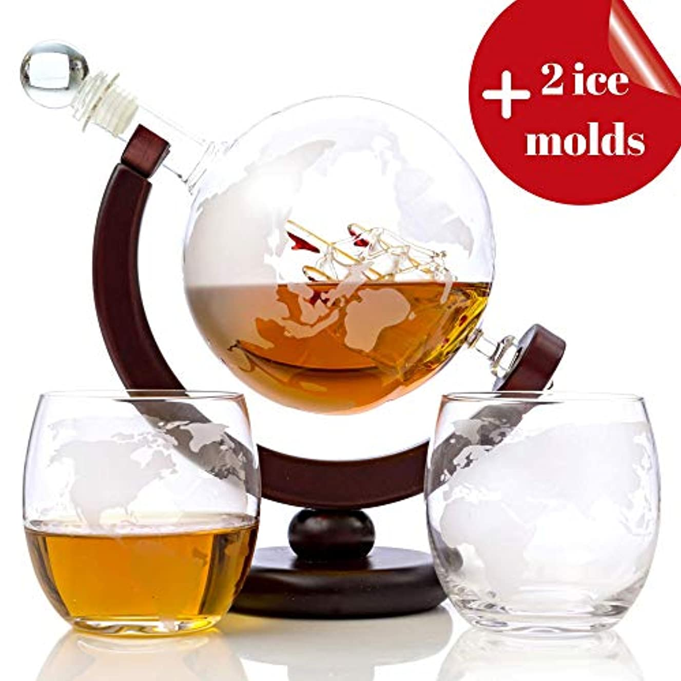 Whiskey Globe Decanter Set - 850 ml with Silicone Ice Molds & Two World Etched Whiskey Glasses (300ml) Wooden Base and Safe Package - Perfect Gift Set for Liquor, Scotch, Bourbon, Vodka and Wine