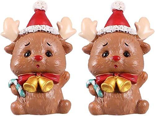2pcs Lamb Figurines Christmas Figurine Christmas Figurine Statue Miniature Christmas Statue Display Sculpture Micro Garden Yard Dollhouse Ornaments Landscape 5x3.5cm objects decora-Reindeer