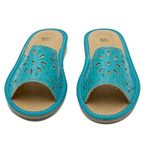 ab-soft absoft Hausschuhe für Damen 100% Pantoffeln Öko-Leder (40 EU, Türkis)