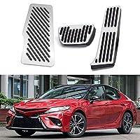 車のガスの燃料ブレーキペダルの足のペダルパッドの残りのペダルカバーはトヨタカムリ2018-2020、カーペダルパッドのためのドリル滑り止めフィット (Color Name : Silver)
