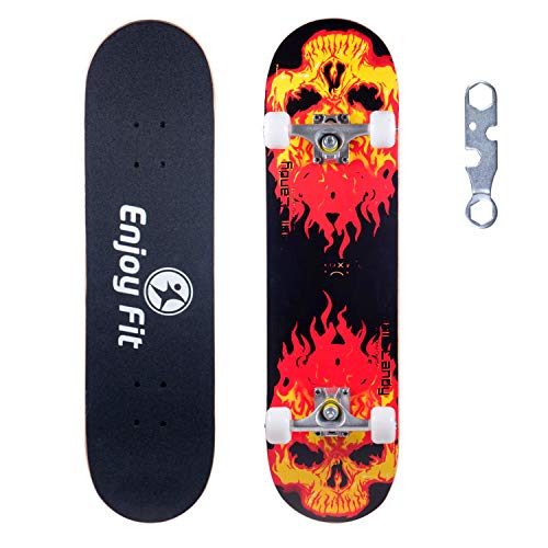 EnjoyFit Skateboard Komplettboard 80 x 20 cm mit ABEC-7 Kugellager 9-lagigem Ahornholz für Kinder Jungendliche und Erwachsene, Belastung 150kg (Feuer)