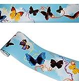 alles-meine.de GmbH Wandbordüre - selbstklebend -  Bunte Schmetterlinge  - 2,5 m - Wandsticker / Wandtattoo - Bordüre Aufkleber - für Küche / Wohnzimmer / Badezimmer - Kinder &..