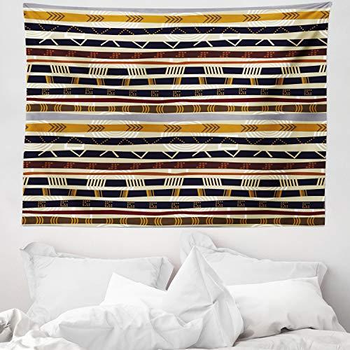 ABAKUHAUS Tribal Tapiz de Pared y Cubrecama Suave, Étnico Africano con Trippy Formas Geométricas Atemporal Herencia Salvaje, Resistente a la Suciedad, 150 x 110 cm, Multicolor