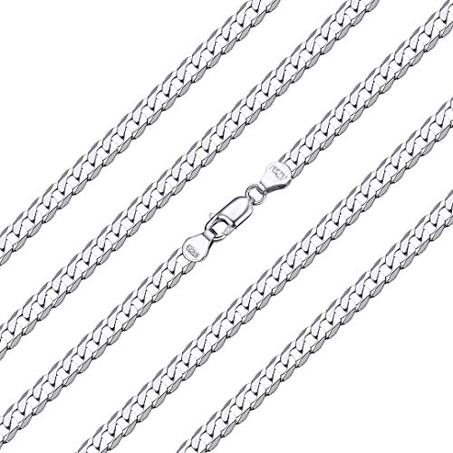 ChainsHouse 925 Sterling Sterling Silver Neck Curb Chain Necklace for Women Men Size: 5mm 61CM