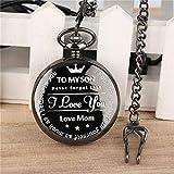 XQKQ Reloj de Bolsillo de Bronce Personalizado para mi Hijo, Reloj de Bolsillo de Cuarzo con números Romanos, Reloj Colgante, Regalos de cumpleaños para niños