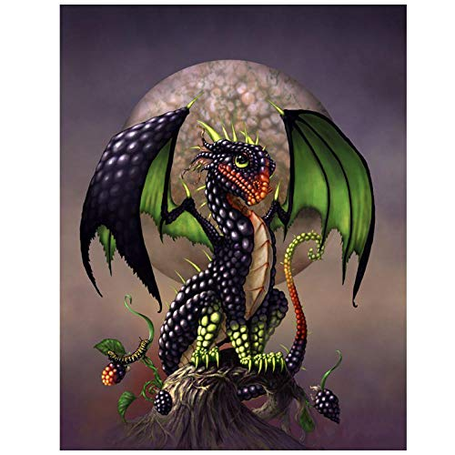 Diamant Schilderij 5D Cartoon Mini Draak DIY Diamant Borduurwerk BlackBerry Dragon Volledige Boor Ronde Strass Gift 30x40cm /12x16in