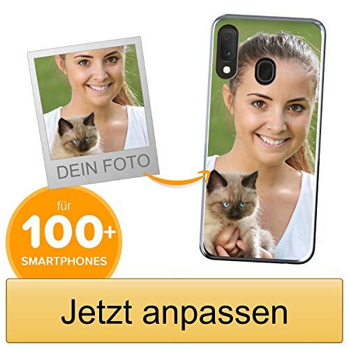 Coverpersonalizzate.it Handyhülle für Samsung Galaxy A20e mit Foto-, Bildern- oder Text selbst gestalten- Die Handyhülle ist aus weichem transparentem TPU-Silikon-Gel Material