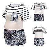YWLINK Camiseta De Maternidad De Manga Corta con Cuello Redondo De Camuflaje De Moda,ImpresióN Patterned Studio Relaxed-Fit Crewneck T-Shirt - Fashion-T-Shirts Mujer
