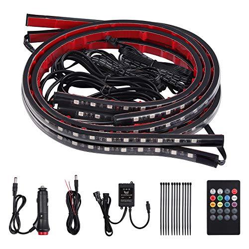 Justech 4 X 8 Colori Luci Strisce Sotto Auto Lampade Neon Decorazione Luce Striscia RGB Illuminazione Lampada dell'Atmosfera con Controllo Musicale e Telecomando Wireless per Auto Paraurti Auto Fondo