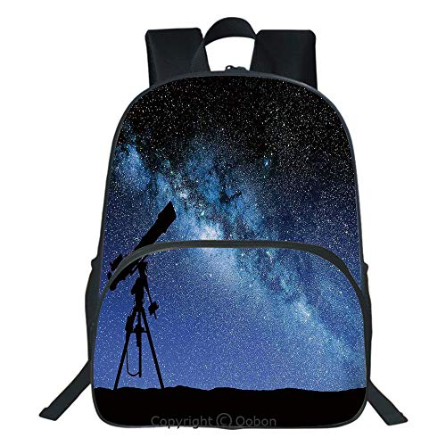 Oobon Mochila escolar para niños, impermeable, con dibujos animados 3D, telescopio Valley bajo cielo estrellado, Vía Láctea, Atmósfera Galaxy Astronomía, se adapta a portátiles de 14 pulgadas