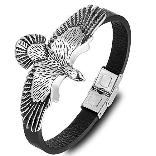 Mode Leder Flügel Adler Armband Kasachische Totems Adler Edelstahl Armreif Herren Armbänder Schmuck Party Geschenke, 21 cm