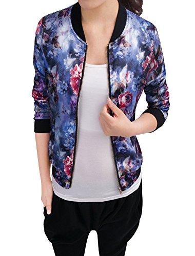 Allegra K Damen Langarm Stehkragen Blouson Blumen Bomberjacke Jacke Blau S