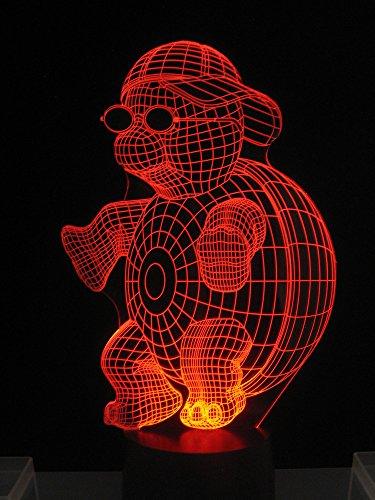 3D LED Lampe originale Turtle, tortue Adorable avec casquette comme lumière d'ambiance