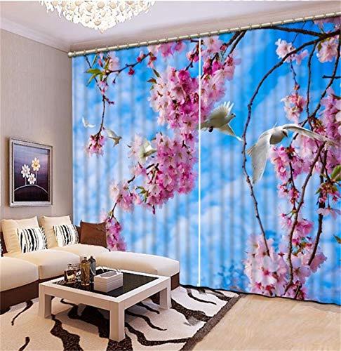 HAOTTP Rideau 3D Ombrage Salon Chambre Photo Taille Personnalisée Rose Fleur Bleu Ciel Lit Chambre Salon Bureau Hôtel Cortinas W200Xh200Cm
