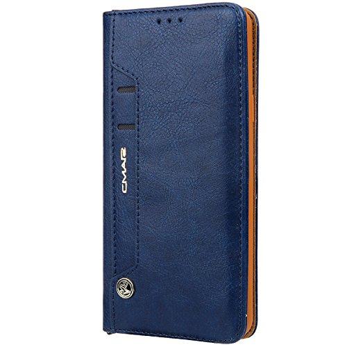 Funda cartera iPhone 6 Plus / 6S Plus con una solapa para llevar tarjeta de credito y dinero, Azul