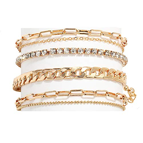 Nanafast 4-6PCS Ankle Bracelets Set for Women Gold Boho Beach Anklet Chain Adjustable Foot Jewelry for Girls Extremely Simple Style-4PCS
