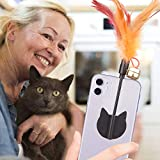 Yisilin Selfie Cat, Cat Selfie Stick with Funny Feather Teaser for Attract Cat Attention,Reusable & Removable, Damage Free, Compatible with All iPhone Sumsung Google Huawei Smartphone Tablet Models