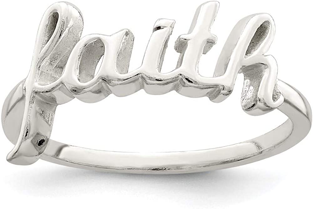 925 Sterling Silver Faith Band Ring Japan's largest assortment Jewelry Max 83% OFF Religious W Fine For