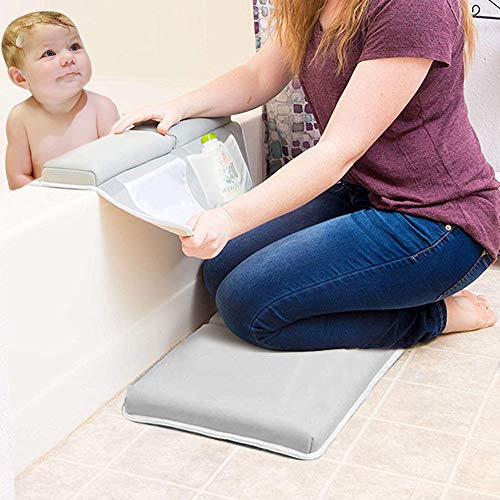 Bath Kneeler with Elbow Rest Pad Set, 1.5 inch Thick Kneeling Pad and Arm Support,Large Bathtub Kneeling Mat with Animal Toys and Organizer Pockets,Gift for Mother's Day and Babies(Gray)
