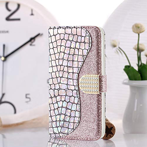 WIWJ Hülle für Samsung Galaxy J3 2016 Handyhülle Glitzer Spleißen Lederhülle Wallet Kredit Kartenfächer Brieftasche Schutzhülle Magnet Klapphülle Flip 360 Grad Tasche-Silber