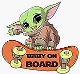 Baby Yoda Cute Yoda Girl or Boy Baby on Board Sticker for car(Star Wars Text) Sticker Vinyl Decal for Bumper Cars Locker Truck Vehicle Window laptops and more ( 5.75' X 6' Inches). Baby on Board Sticker for cars.