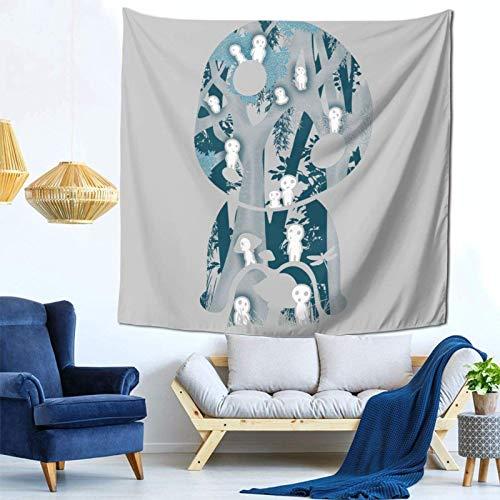 zhenglongbaihuodian Kodama Forrest Princess Mononoke Studio Ghibli Wall Hanging Tapestry for Living Room and Bedroom Spreads Good Vibes 59×59 Inches