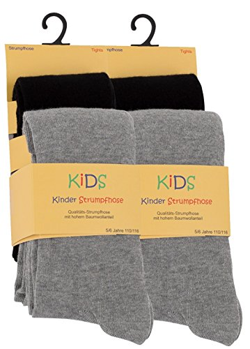 Cotton Prime 4er Set Kinder Strumpfhosen, Baumwolle, Mädchen und Jungen Strumpfhose (Öko-Tex Standard 100 Zertifiziert) Gr. 122/128