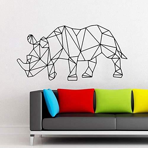 Rhpnyi Rinoceronte geométrico Animal Etiqueta de la Pared de Vinilo decoración del hogar Sala de Estar Dormitorio decoración de Interiores Mural 113x57cm