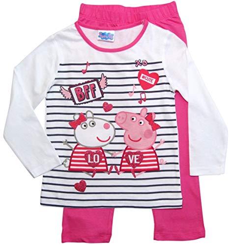 Peppa Wutz Schlafanzug Mädchen Pyjama Peppa Pig Lang (Fuchsia-Weiß, 110)