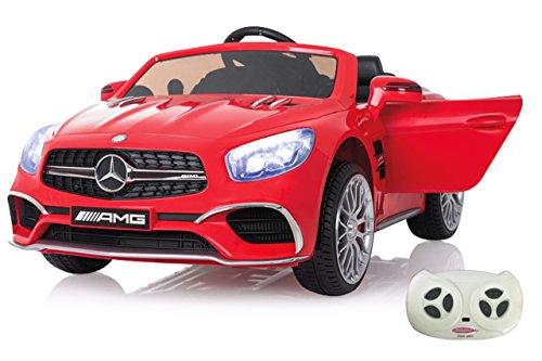 RC Auto kaufen Kinderauto Bild: Jamara 460294 Ride-on Mercedes SL65 rot 12V-Softanlauf, 2-Gang, Stoßdämpfer, SD-Slot, AUX-und USB-Anschluss, LED, Hupe, bis zu 90 Min. Fahrzeit, Ultra-Gripp Gummiring*