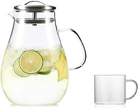 Szklany dzbanek z pokrywką 2 litry wielokrotnego użytku lód idealny do mrożonej kawy, herbaty, kawy, mleka i soku owocoweg...