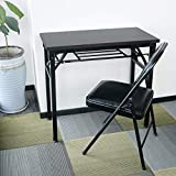 YJHome Black Folding Table Small Computer Desk and 2pcs Folding Chairs with Padded Seats for Small Spaces Home Office School