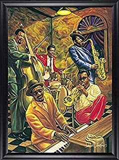 HSE Cool Jazz by Sarah Jenkins Framed African American Music Art Picture, Finished Size: 28x40
