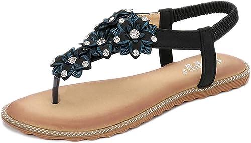 L-X Thong Sandals Fleur D'été en Plein Plein Air à Chevrons Chevron Sangle élastique de la Mode Chaussures Plates, Noir, 38 UE  haute qualité